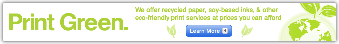 Print friendly - We offer recycled paper, soy-based inks, & other eco-friendly print services